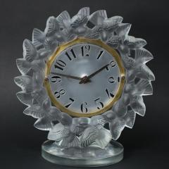 Ren Lalique Lalique Co Rene Lalique Frosted Glass Roitelets Clock - 1990367