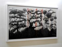 Ren e Rey In 2 It x 3 2011 Large Black and White Abstract Painting by Renee Rey - 1962908