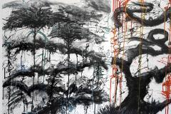 Ren e Rey In 2 It x 3 2011 Large Black and White Abstract Painting by Renee Rey - 1962918