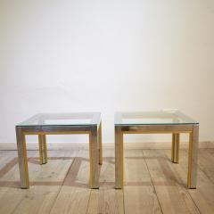 Renato Zevi 1970s Brass and Chrome Pair of Side Coffee Table by Renato Zevi for Romeo Rega - 642693