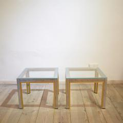 Renato Zevi 1970s Brass and Chrome Pair of Side Coffee Table by Renato Zevi for Romeo Rega - 642694