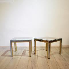 Renato Zevi 1970s Brass and Chrome Pair of Side Coffee Table by Renato Zevi for Romeo Rega - 642695