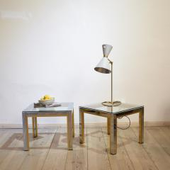 Renato Zevi 1970s Brass and Chrome Pair of Side Coffee Table by Renato Zevi for Romeo Rega - 642696