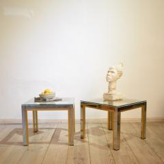Renato Zevi 1970s Brass and Chrome Pair of Side Coffee Table by Renato Zevi for Romeo Rega - 642697