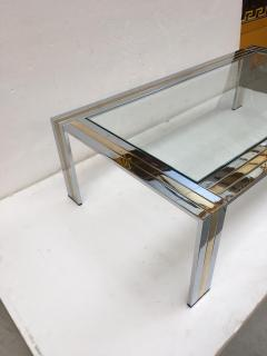 Renato Zevi Coffee Table Metal Chrome and Brass by Renato Zevi Italy 1970s - 1607362