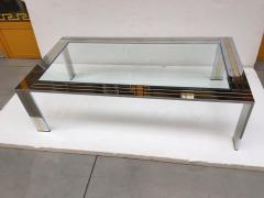 Renato Zevi Coffee Table Metal Chrome and Brass by Renato Zevi Italy 1970s - 1607364