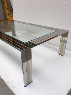 Renato Zevi Coffee Table Metal Chrome and Brass by Renato Zevi Italy 1970s - 1607365