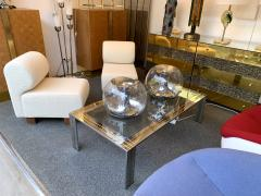 Renato Zevi Coffee Table Metal Chrome and Brass by Renato Zevi Italy 1970s - 1607366