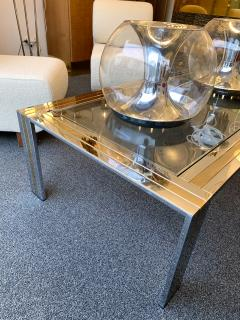 Renato Zevi Coffee Table Metal Chrome and Brass by Renato Zevi Italy 1970s - 1607367