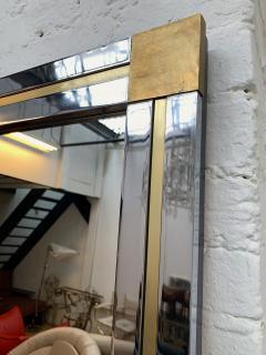 Renato Zevi Large Brass and Metal Chrome Mirror by Renato Zevi Italy 1970s - 1675668