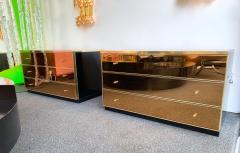 Renato Zevi Pair of Chest of Drawers Brass Mirror by Renato Zevi Italy 1970s - 1063795