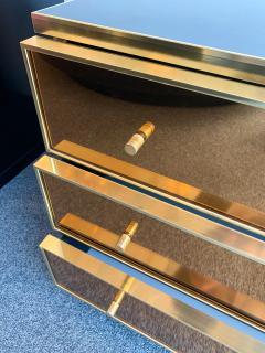 Renato Zevi Pair of Chest of Drawers Brass Mirror by Renato Zevi Italy 1970s - 1063796