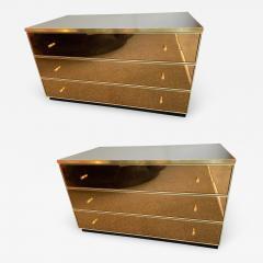 Renato Zevi Pair of Chest of Drawers Brass Mirror by Renato Zevi Italy 1970s - 1064346