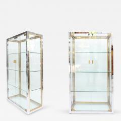 Renato Zevi Pair of Chrome and Brass Tall Zevi Vitrines - 265414