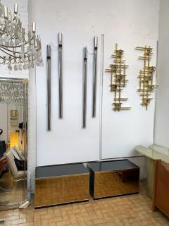 Renato Zevi Pair of Nightstands Brass and Mirror by Renato Zevi Italy 1970s - 1674720