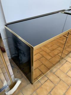 Renato Zevi Pair of Nightstands Brass and Mirror by Renato Zevi Italy 1970s - 1674721