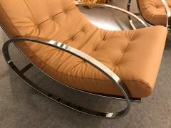 Renato Zevi Pair of Rocking Lounge Chair Metal Leather by Renato Zevi Italy 1970s - 776895