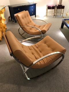 Renato Zevi Pair of Rocking Lounge Chair Metal Leather by Renato Zevi Italy 1970s - 776900