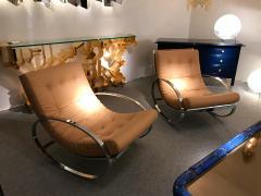 Renato Zevi Pair of Rocking Lounge Chair Metal Leather by Renato Zevi Italy 1970s - 776901