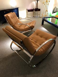 Renato Zevi Pair of Rocking Lounge Chair Metal Leather by Renato Zevi Italy 1970s - 776902