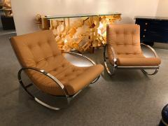 Renato Zevi Pair of Rocking Lounge Chair Metal Leather by Renato Zevi Italy 1970s - 776903