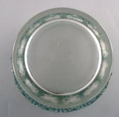 Rene Lalique Early large Edelweiss bowl in turquoise art glass decorated with flowers - 1422946