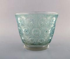 Rene Lalique Early large Edelweiss bowl in turquoise art glass decorated with flowers - 1422948
