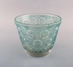 Rene Lalique Early large Edelweiss bowl in turquoise art glass decorated with flowers - 1422949
