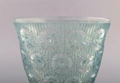 Rene Lalique Early large Edelweiss bowl in turquoise art glass decorated with flowers - 1422950