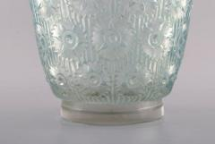 Rene Lalique Early large Edelweiss bowl in turquoise art glass decorated with flowers - 1422951