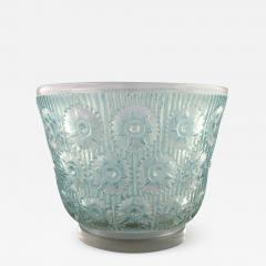 Rene Lalique Early large Edelweiss bowl in turquoise art glass decorated with flowers - 1423852