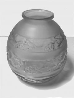 Rene Lalique Ren Lalique 1930s Ren Lalique Signed Vase Soudan Pattern - 1055822