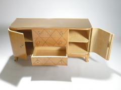 Rene Prou Mid century Ren Prou sycamore brass sideboard commode 1940s - 983634
