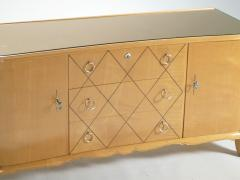 Rene Prou Mid century Ren Prou sycamore brass sideboard commode 1940s - 983636