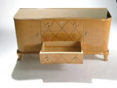 Rene Prou Mid century Ren Prou sycamore brass sideboard commode 1940s - 983639