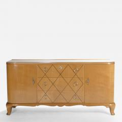 Rene Prou Mid century Ren Prou sycamore brass sideboard commode 1940s - 986531