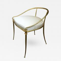 Rene Prou Ren Prou Refined 1940s Gold Leaf Wrought Iron Vanity Chair  Covered In Silk