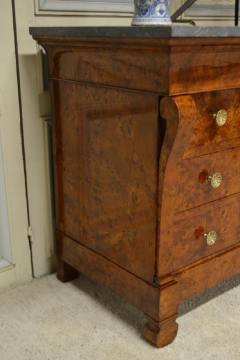 Restauration Period Burl Elm 4 drawer Commode - 1092443