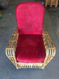 Restored Art Deco Presidents High Stand Stick Rattan Lounge Chair - 1348071