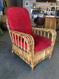 Restored Art Deco Presidents High Stand Stick Rattan Lounge Chair - 1348076