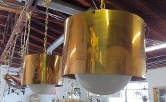 Restored Mid Century Brass Drum Pendants - 1264501