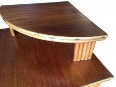 Restored Rattan Corner Side Table with Removable Mahogany Second Tier - 1348030