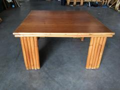 Restored Rattan Corner Side Table with Removable Mahogany Second Tier - 1348031