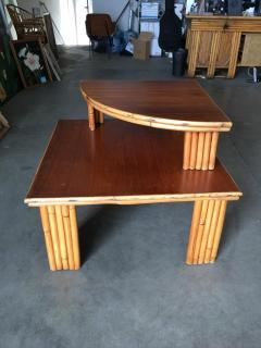 Restored Rattan Corner Side Table with Removable Mahogany Second Tier - 1348032
