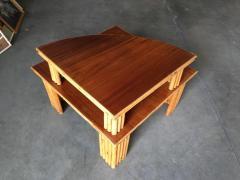 Restored Rattan Corner Side Table with Removable Mahogany Second Tier - 1348034