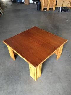 Restored Rattan Corner Side Table with Removable Mahogany Second Tier - 1348035