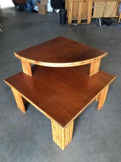 Restored Rattan Corner Side Table with Removable Mahogany Second Tier - 1348036