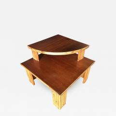 Restored Rattan Corner Side Table with Removable Mahogany Second Tier - 1349270