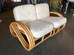 Restored Three Stranded 3 4 Round Pretzel Sectional Loveseat Sofa - 1346472