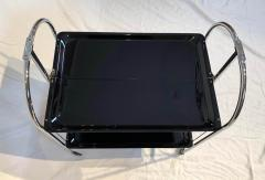 Restored mobile and foldable Art Deco serving trolley Black lacquer and Nickel - 1889078